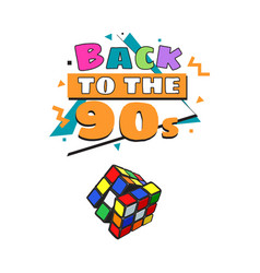 Back to 90s poster template with cube combination vector
