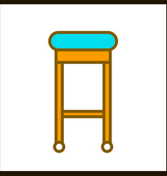 Bar chair with blue seat and wooden legs vector