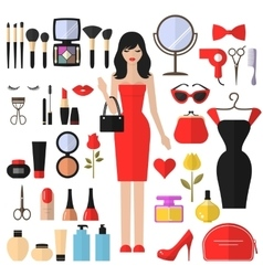 Beauty cosmetic and makeup flat icons set vector