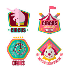 Big amazing circus show 2017 promotional emblems vector