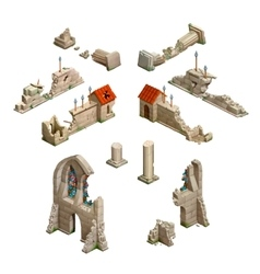 Big set of medieval buildings isometric game art vector