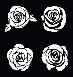Black silhouette of rose set vector