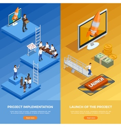 Business strategy isometric vertical banners vector
