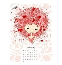 Calendar 2016 february month Season girls design vector image vector image
