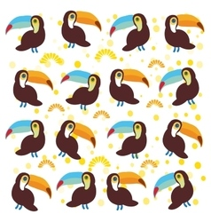 Cute Cartoon toucan birds set on white background vector image vector image
