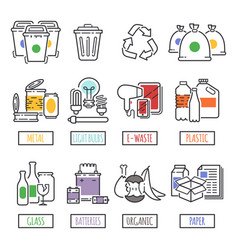 different recycling garbage waste types sorting vector image