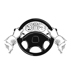 Driver design element with hands holding steering vector