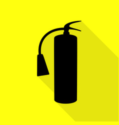Fire extinguisher sign black icon with flat style vector