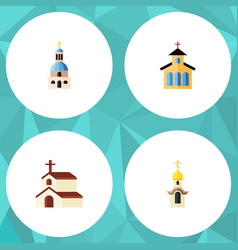 Flat icon church set of structure religion vector