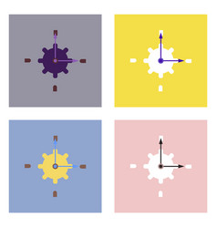 flat icon design collection gear and watches vector image