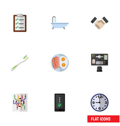 Flat icon lifestyle set of fried egg tub vector