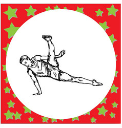 flexible male gymnast performing vector image