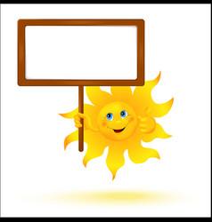 Funny cartoon sun with banner vector