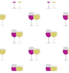 Glasses with red and white wine pattern flat vector