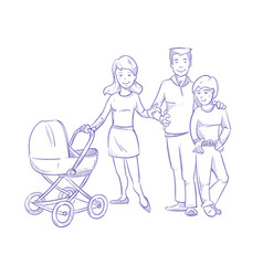 Happy young family with child and baby in stroller vector