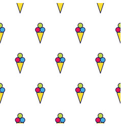 Ice cream line icon seamless pattern vector