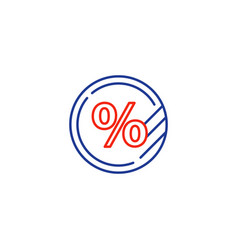 Interest rate concept percentage coin sale sign vector