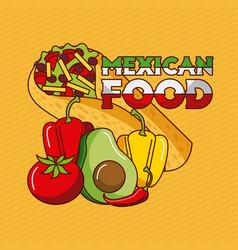 Mexican food taco pepper tomato avocado vector