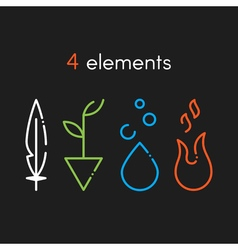 Nature basic elements water fire earth air icons vector