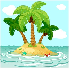 palm trees on desert island vector image