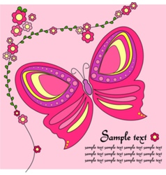 Pink background with a butterfly vector image