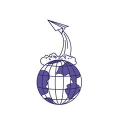 Purple line contour of earth globe and paper plane vector