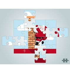 Puzzle santa hanging on the chimney vector