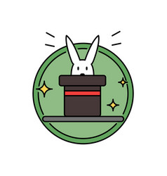Rabbit inside magician hat funny magic trick vector