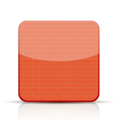 Red brick app icon on white background vector