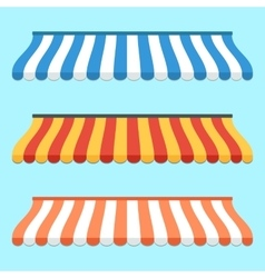 Set of colorful striped awnings for shop and vector