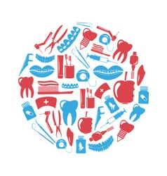 set of dental theme red and blue icons in circle vector image vector image