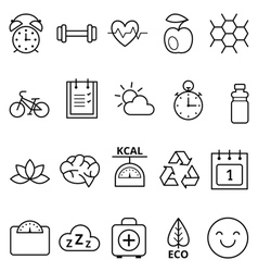 Set of linear web icons healthy vector image vector image