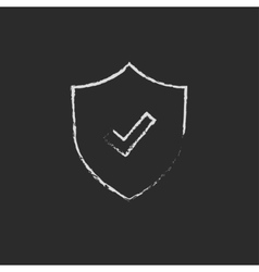 Shield with check mark drawn in chalk vector