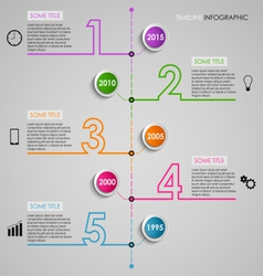 Time line info graphic colored number design vector