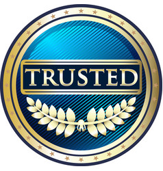 trusted blue icon vector image