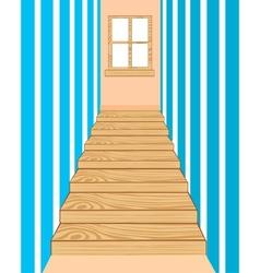 Wooden stairway in corridor vector