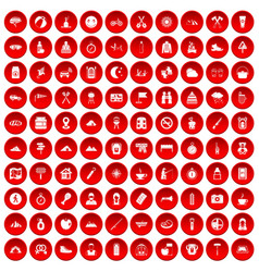 100 family camping icons set red vector