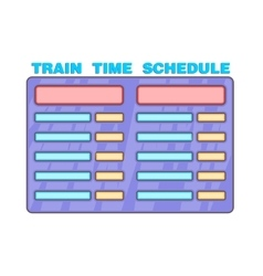 Schedule time of trains icon cartoon style vector