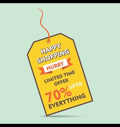 Happy shopping big discount offer tag style banner vector