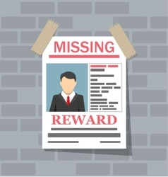Wanted man paper poster missing announce vector