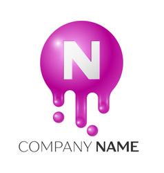 N letter splash logo purple dots and bubbles vector