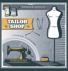 vintage tailor shop poster vector image