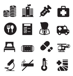 Silhouette hospital icons set vector