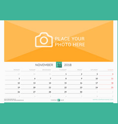 November 2018 wall monthly calendar for 2018 year vector