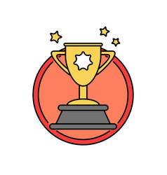 Success trophy first prize retro badge icon vector