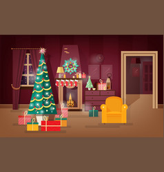Decorated winter holidays living-room vector