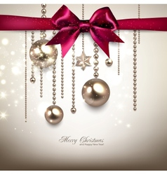 Elegant Christmas background with red bow and vector image