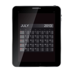 2013 year calendar on abstract design Tablet vector image vector image