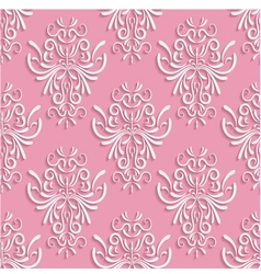 Pink seamless background with 3d floral pattern vector