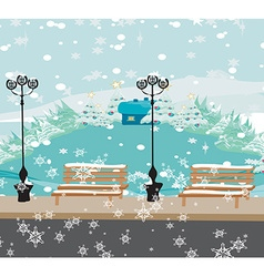 Winter city park vector